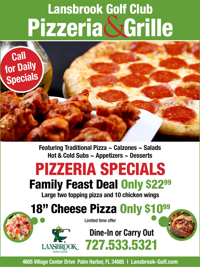 Flyer promoting specials: Large 2 topping pizza and 10 wings 22.99 or 18' Cheese pizza 10.99