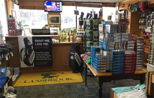 Interior shot of Lansbrook Golf Shop showing Golf Balls and displays